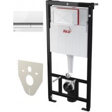 Система инсталляции для унитазов AlcaPlast Sadromodul AM101/1120 4 в 1 кнопка смыва хром/белая