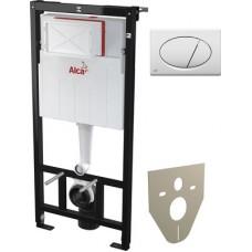 Система инсталляции для унитазов AlcaPlast Sadromodul AM101/1120 + M70 + M91 4 в 1 кнопка смыва бела