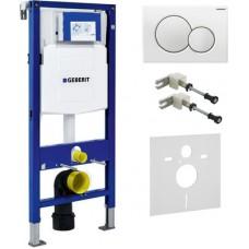 Система инсталляции для унитазов Geberit Duofix UP320 111.300.00.5 с белой кнопкой смыва, шумоизоляц