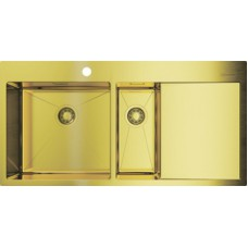 Мойка кухонная Omoikiri Akisame 100-2-LG-L светлое золото