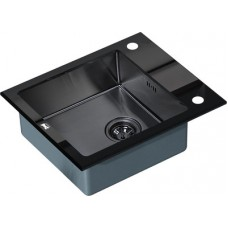 Мойка кухонная Zorg Inox Glass GL-6051-black-grafit черное стекло