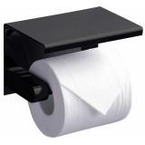 Держатель туалетной бумаги Rush Edge ED77141 Black с полкой для телефона, черный