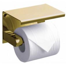 Держатель туалетной бумаги Rush Edge ED77141 Gold с полкой для телефона, золотой
