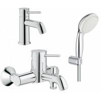 Комплект для ванной  Смеситель Grohe BauClassic 23162000 для раковины + Смеситель Grohe BauClassic 3