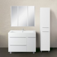 Мебель для ванной 1MarKa Соната 90Н с 1 дверкой и 2 ящиками, белый глянец