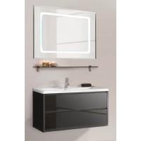 Мебель для ванной Акватон Римини 100 подвесная черная глянцевая с раковиной Премьер 100