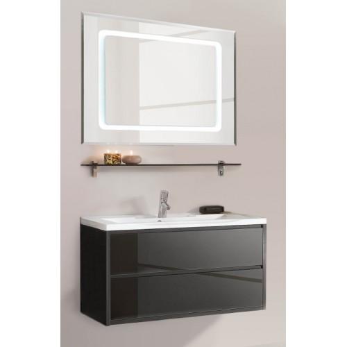 Мебель для ванной Акватон Римини 100 подвесная черная глянцевая с раковиной Премьер М 100