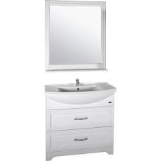 Мебель для ванной ASB-Woodline Берта 85 белая, патина серебро