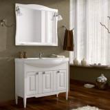 Мебель для ванной ASB-Woodline Модена 105 белая с серебряной патиной