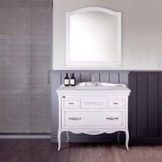 Мебель для ванной ASB-Woodline Модерн 105 белая, патина серебро