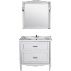 Мебель для ванной ASB-Woodline Римини Nuovo 80 белая, патина серебро