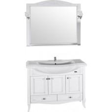 Мебель для ванной ASB-Woodline Салерно 105 белая, патина серебро