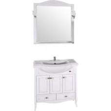 Мебель для ванной ASB-Woodline Салерно 80 белая, патина серебро