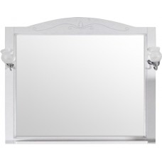 Зеркало ASB-Woodline Салерно 105 со светильниками, белое, патина серебро