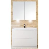 Мебель для ванной BelBagno Marino 80 напольная bianco lucido с зеркалом-шкафом