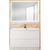 Мебель для ванной BelBagno Marino 90 напольная bianco lucido с прямоугольным зеркалом
