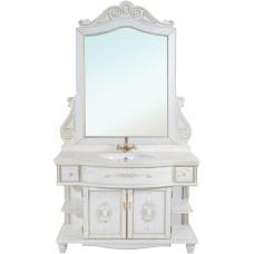 Мебель для ванной Bellezza Аврора 115 белая патина золото
