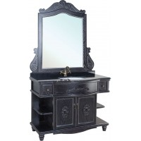 Мебель для ванной Bellezza Аврора 115 черная патина серебро