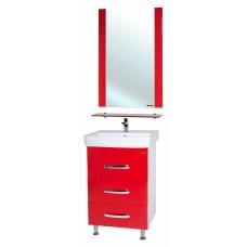 Мебель для ванной Bellezza Рокко 50 красная напольная 3 ящика