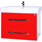 Тумба с раковиной Bellezza Рокко 80 подвесная красная 2 ящика