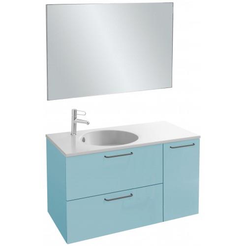 Мебель для ванной Jacob Delafon Odeon Rive Gauche 100 подвесная аквамарин сатин с черными ручками