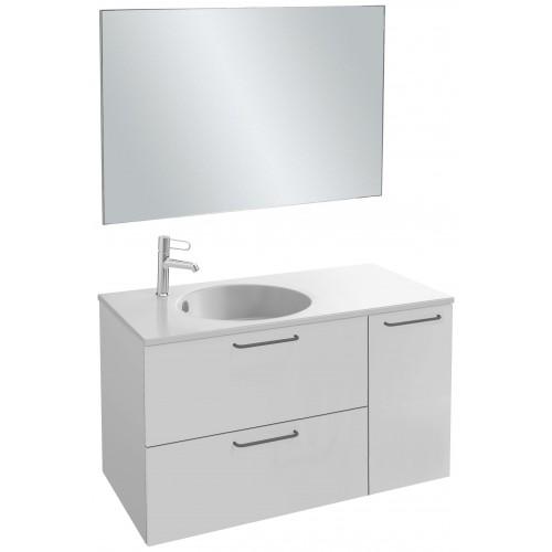 Мебель для ванной Jacob Delafon Odeon Rive Gauche 100 подвесная белый блестящий с черными ручками