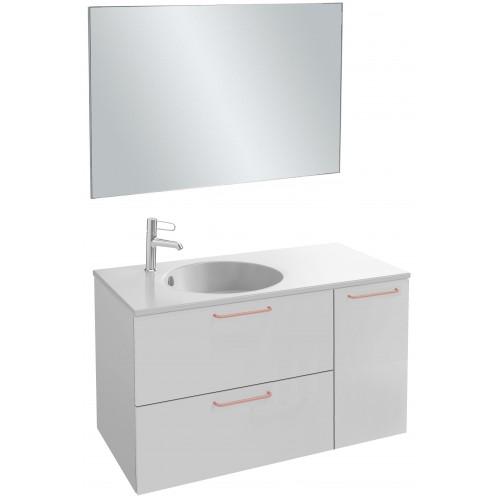 Мебель для ванной Jacob Delafon Odeon Rive Gauche 100 подвесная белый блестящий с медными ручками