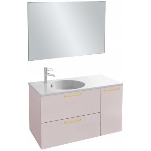 Мебель для ванной Jacob Delafon Odeon Rive Gauche 100 подвесная пыльная роза с золотыми ручками