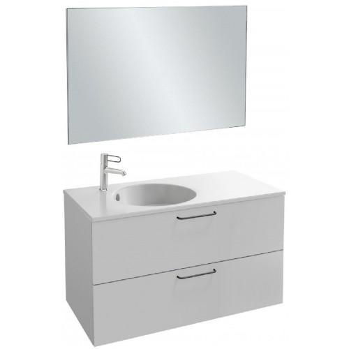 Мебель для ванной Jacob Delafon Odeon Rive Gauche 100 подвесная с 2-мя ящиками белый блестящий с черными ручками