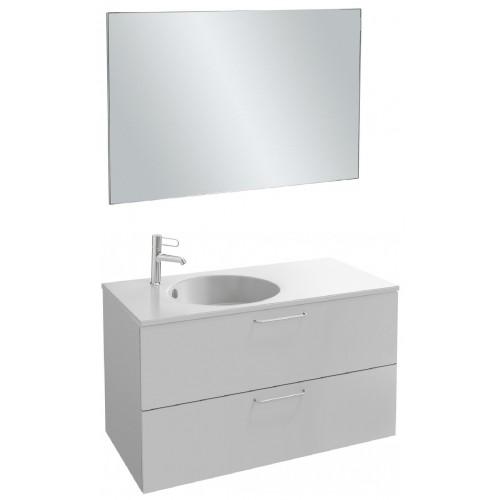 Мебель для ванной Jacob Delafon Odeon Rive Gauche 100 подвесная с 2-мя ящиками белый блестящий с ручками хром