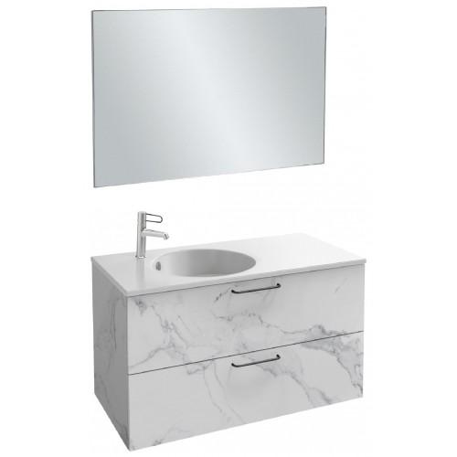 Мебель для ванной Jacob Delafon Odeon Rive Gauche 100 подвесная с 2-мя ящиками белый мрамор с черными ручками