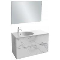 Мебель для ванной Jacob Delafon Odeon Rive Gauche 100 подвесная с 2-мя ящиками белый мрамор с ручками хром