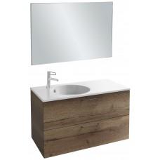 Мебель для ванной Jacob Delafon Odeon Rive Gauche 100 подвесная с 2-мя ящиками дуб табак с черными ручками