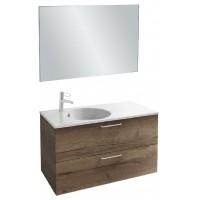 Мебель для ванной Jacob Delafon Odeon Rive Gauche 100 подвесная с 2-мя ящиками дуб табак с ручками хром