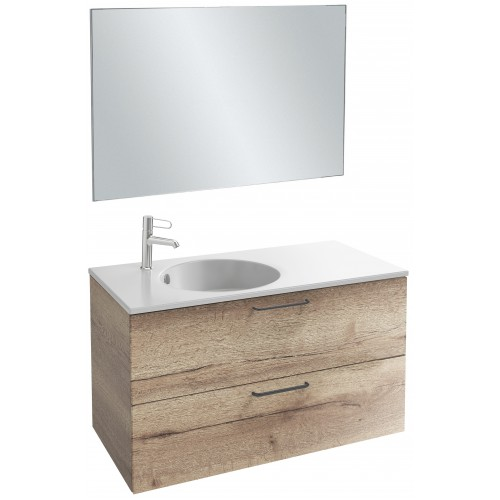 Мебель для ванной Jacob Delafon Odeon Rive Gauche 100 подвесная с 2-мя ящиками квебекский дуб с черными ручками
