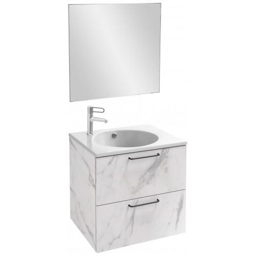 Мебель для ванной Jacob Delafon Odeon Rive Gauche 60 подвесная белый мрамор с черными ручками