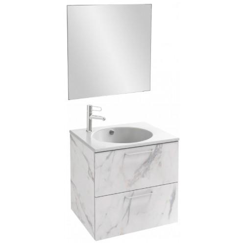 Мебель для ванной Jacob Delafon Odeon Rive Gauche 60 подвесная белый мрамор с ручками хром