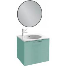 Мебель для ванной Jacob Delafon Odeon Rive Gauche 60 подвесная с 1-м ящиком ментол сатин с черными ручками и круглым зеркалом