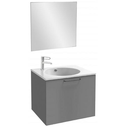 Мебель для ванной Jacob Delafon Odeon Rive Gauche 60 подвесная с 1-м ящиком насыщенный серый матовый с черными ручками