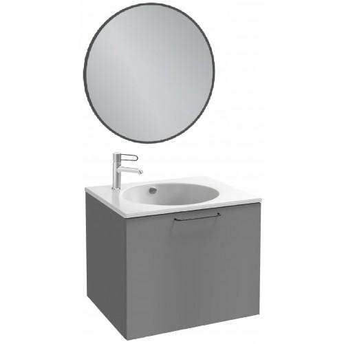 Мебель для ванной Jacob Delafon Odeon Rive Gauche 60 подвесная с 1-м ящиком насыщенный серый матовый с черными ручками и круглым зеркалом
