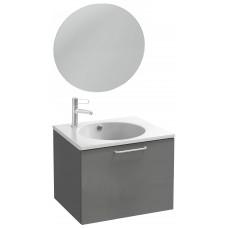 Мебель для ванной Jacob Delafon Odeon Rive Gauche 60 подвесная с 1-м ящиком серый антрацит с ручками хром и круглым зеркалом