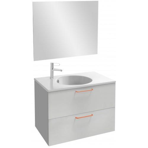 Мебель для ванной Jacob Delafon Odeon Rive Gauche 80 подвесная белый блестящий  с медными ручками