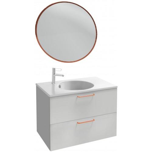 Мебель для ванной Jacob Delafon Odeon Rive Gauche 80 подвесная белый блестящий  с медными ручками и круглым зеркалом