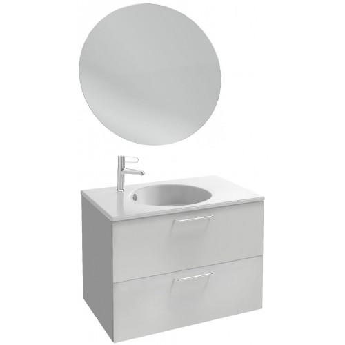 Мебель для ванной Jacob Delafon Odeon Rive Gauche 80 подвесная белый блестящий лак с ручками хром и круглым зеркалом