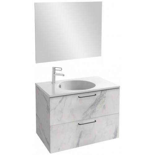 Мебель для ванной Jacob Delafon Odeon Rive Gauche 80 подвесная белый мрамор с черными ручками