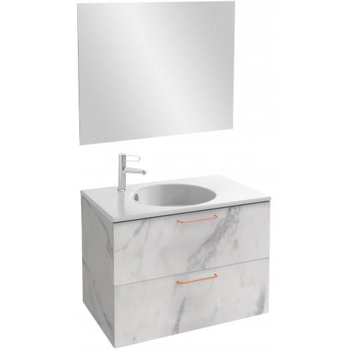 Мебель для ванной Jacob Delafon Odeon Rive Gauche 80 подвесная белый мрамор с медными ручками