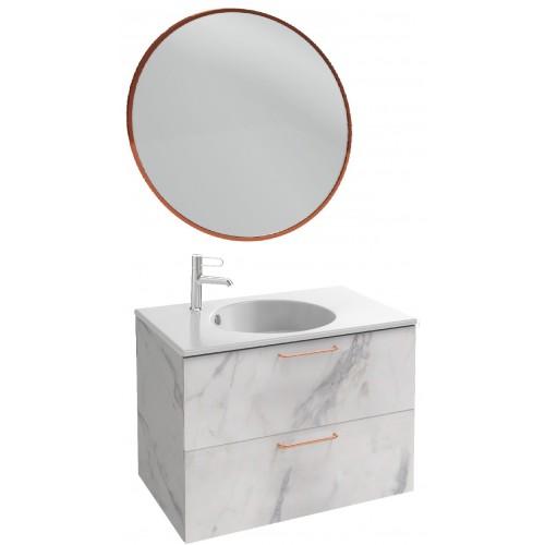 Мебель для ванной Jacob Delafon Odeon Rive Gauche 80 подвесная белый мрамор с медными ручками и круглым зеркалом