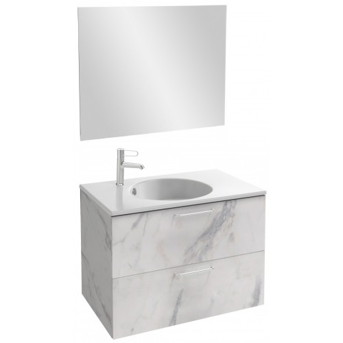 Мебель для ванной Jacob Delafon Odeon Rive Gauche 80 подвесная белый мрамор с ручками хром