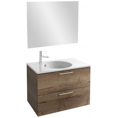 Мебель для ванной Jacob Delafon Odeon Rive Gauche 80 подвесная дуб табак с белыми ручками