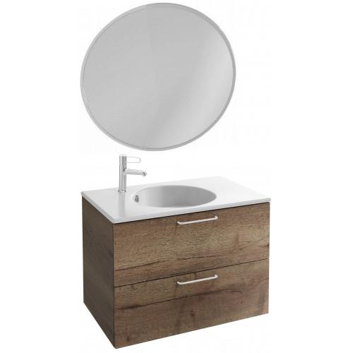 Мебель для ванной Jacob Delafon Odeon Rive Gauche 80 подвесная дуб табак с белыми ручками и круглым зеркалом